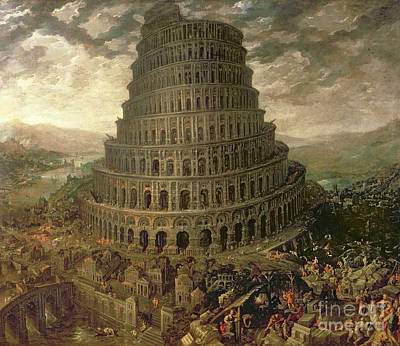 Heavenwards Painting - The Tower Of Babel by Tobias Verhaecht