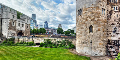 Skyscraper Photograph - The Tower Of London And The City District With Gherkin Skyscraper, The Uk by Michal Bednarek