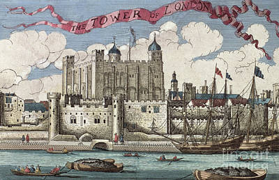 London Drawing - The Tower Of London Seen From The River Thames by English School