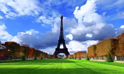 Print featuring the painting The Tower Paris by David Dehner