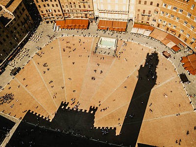 The Tower Shadow In Siena Art Print by Roberto Pastrovicchio