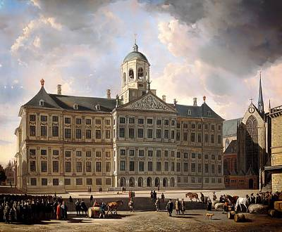 Good Dog Painting - The Town Hall On Dam Square In Amsterdam by Mountain Dreams