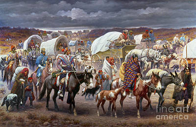 Horse-drawn Painting - The Trail Of Tears by Granger