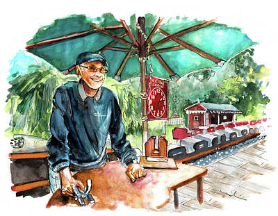 Painting - The Train Conductor At Newby Hall by Miki De Goodaboom