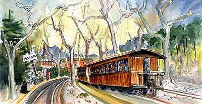 Train Station Drawing - The Train Station In Soller In Majorca by Miki De Goodaboom