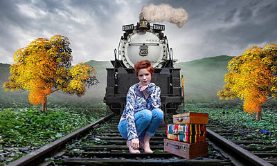 Mixed Media - The Train Stops Here by Marvin Blaine
