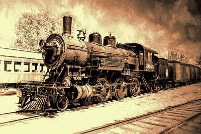 Photograph - The Train Yard In Sepia by Susan Rissi Tregoning