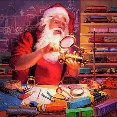 Santa Wall Art - Painting - The Trainmaster by Steve Henderson