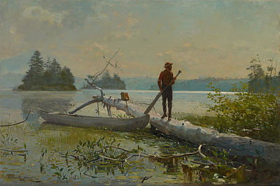 American Painters Painting - The Trapper by Winslow Homer