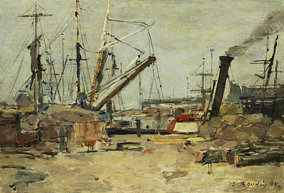 Trawler Painting - The Trawlers by Eugene Boudin