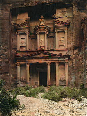 Treasury Painting - The Treasury Petra by Celestial Images