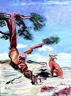 Painting - The Tree And The Bobcat by Phyllis Kaltenbach
