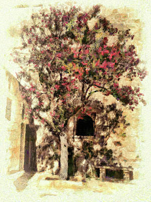 Digital Art - The Tree In The Corner Of The Courtyard by Leigh Kemp