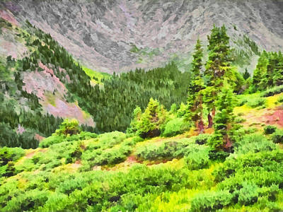 Digital Art - The Tree Line Near Loveland Pass In Colorado by Digital Photographic Arts