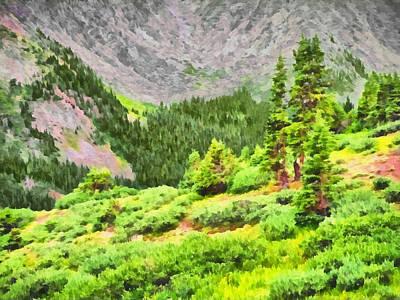 Digital Art - The Tree Line Near Loveland Pass In Colorado by Digital Photographic Arts