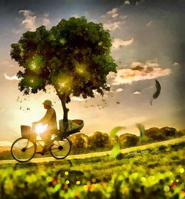 Mountain Bike Digital Art - The Tree Mover - Da by Leonardo Digenio