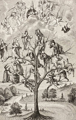 Medieval Battle Drawing - The Tree Of Battles. Allegorical by Vintage Design Pics