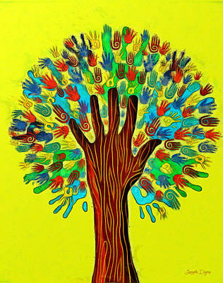 Tree Digital Art - The Tree Of Hands - Da by Leonardo Digenio