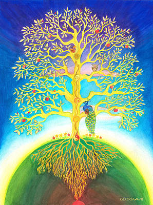 Squirrel Watercolor Painting - The Tree Of Life  by Gloria Di Simone