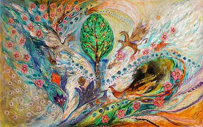 Oriental Style Painting - The Tree Of Life Keepers by Elena Kotliarker