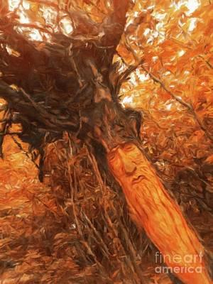 Fantasy Tree Art Painting - The Tree Wizard By Sarah Kirk by Sarah Kirk