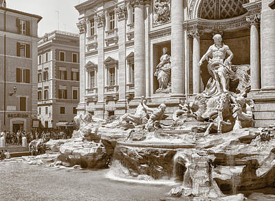 Photograph - The Trevi Fountain In Sepia Tones by Eduardo Jose Accorinti