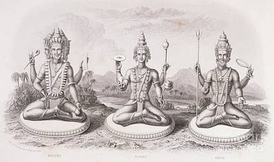 Hand Engraving Drawing - The Trimurti Or Hindu Trinity by English School
