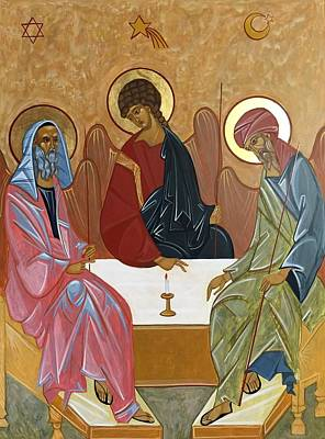 Rublev Trinity Painting - The Trinity Of Unity by Joseph Malham