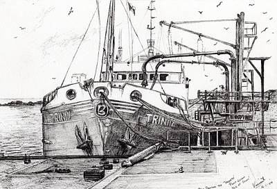 Harbor Drawing - The Trinity  Port Ellen  Isle Of Islay by Vincent Alexander Booth