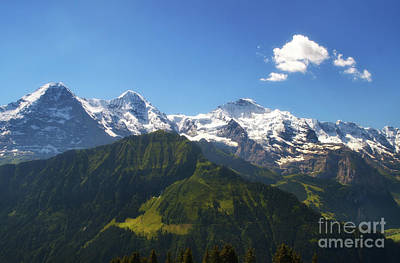 Photograph - the triple peaks of Eiger, Monch and Junfrau by Michelle Meenawong