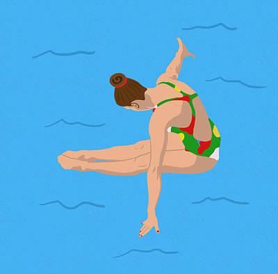 Swimming Digital Art - The Triple Twist by Nicole Wilson