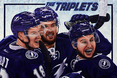 Hockey Painting - The Triplets by Marlon Huynh