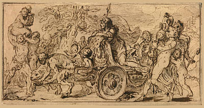 Drawing - The Triumph Of Bacchus by Gabriel de Saint-Aubin
