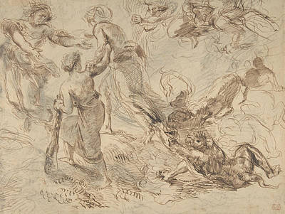 Drawing - The Triumph Of Genius Over Envy by Eugene Delacroix