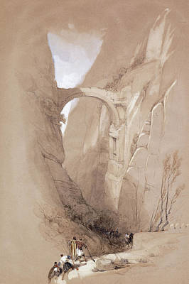Petra Painting - The Triumphal Arch Crossing The Ravine Leading To Petra, 1839 by David Roberts