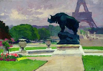 The Trocadero Gardens And The Rhinoceros Print by Jules Ernest Renoux