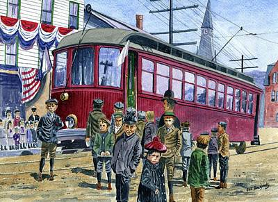 Painting - The Trolley Comes To Stafford 1908 by Jeff Blazejovsky