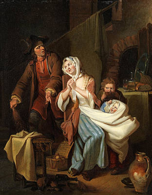 Painting - The Troubled Family Idylle In The Nursery by Johann Eleazar Zeissig