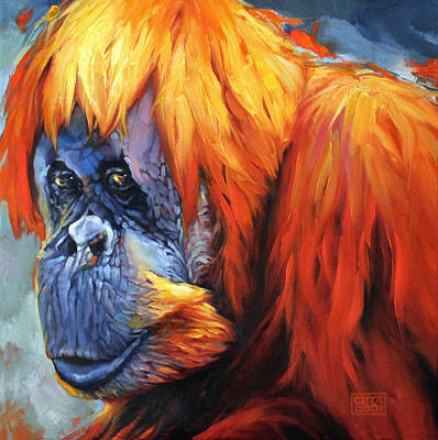 Orangutan Painting - The True Cost Of Palm Oil by Carrie Cook