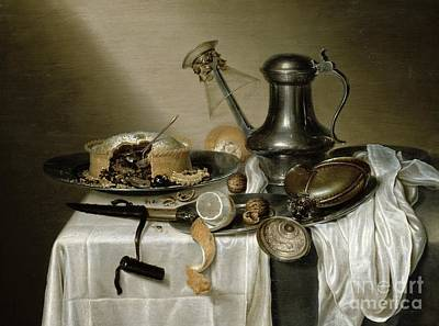 Table Cloth Painting - The Truffle Pie by Maerten Boelema de Stomme