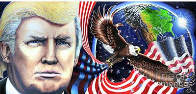 President Donald Trump Fine Art Painting Print Canvas Portrait Election Patriotic  Original by Julian Raven