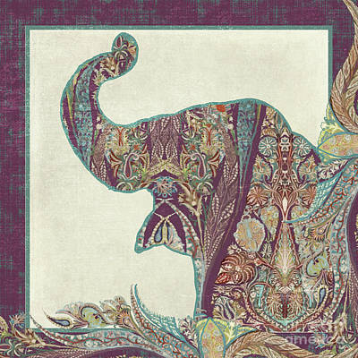 Shawl Painting - The Trumpet - Elephant Kashmir Patterned Boho Tribal by Audrey Jeanne Roberts