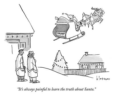 Drawing - The Truth About Santa by John Klossner