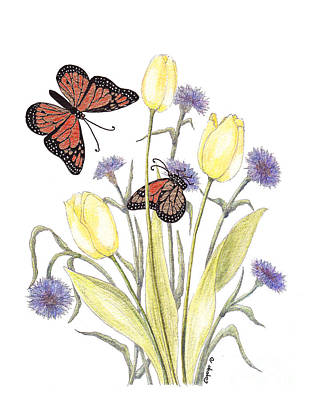 Art Print featuring the painting The Tulip And The Butterfly by Stanza Widen