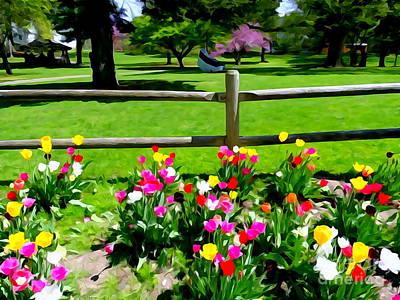 Digital Art - The Tulip Garden by Ed Weidman