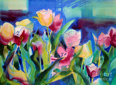 The Tulips Bed Rock Art Print by Kathy Braud