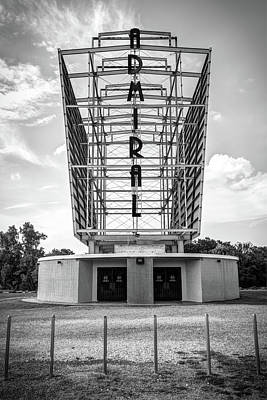 Photograph - The Tulsa Admiral Twin Drive-in - Black And White by Gregory Ballos