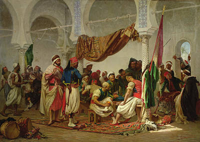Arabian Painting - The Turkish Cafe by Charles Marie Lhuillier
