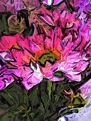 Digital Art - The Turmoil Of The Pink Flowers by Jackie VanO