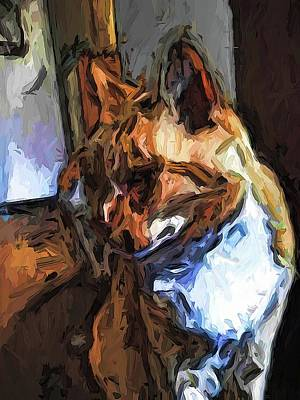 Digital Art - The Turned Head Of The Gold Cat by Jackie VanO